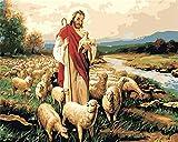 CaptainCrafts Nouvelle peinture par numéros 16x20' pour les adultes, enfants toile - Jésus et le berger, l'amour de Jésus (Avec cadre)