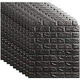 OSCO TOOLS 10PCS - 116 Sq Ft 3D Wall Sticker Self-Adhesive Wall Panels Waterproof PE Foam Black Wallpaper for Living Room TV