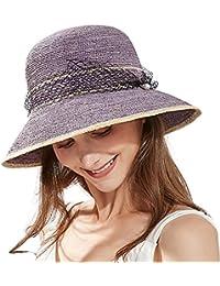 siggi – Disquetera Paja Sol Sombrero Verano Accesorios de Playa ala Ancha  ... 471187a624e