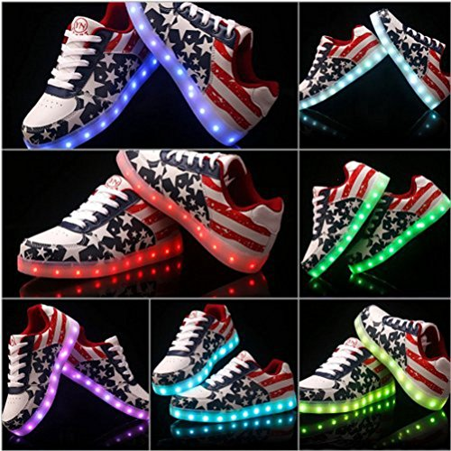 [Présents:petite serviette]JUNGLEST® Ezflora Unisexe Femmes Hommes recharge USB LED Light Up Couples Luminous Sneakers USA Flag course Casual Sh initial