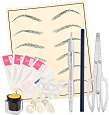 Aspiredeal 3D Microblading Permanent Makeup Eyebrow Tattoo Pen Pencil Pigment Rings Cup Practice Skin Kit for Beginner Training Practice