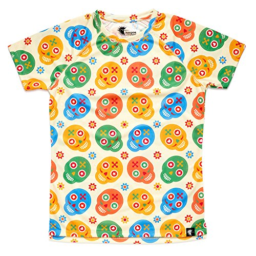 Camiseta de Calaveras Mujer, Manga Corta, Running, Gimnasio...