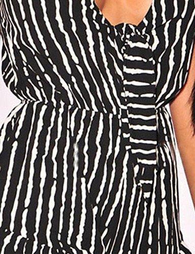 GSP-Combinaisons Aux femmes Sans Manches Sexy / Décontracté Spandex / Polyester Fin Elastique black-l