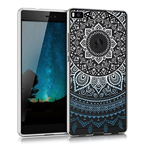 kwmobile Crystal Case Hülle für Huawei P8 aus TPU Silikon mit Indische Sonne Design - Schutzhülle Cover klar in Blau Weiß Transparent