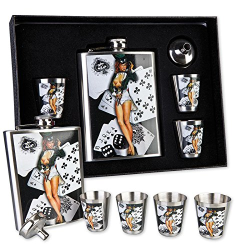 petaca-juego-50-s-retro-style-pin-up-hot-redhead-de-metal-6-piezas-incluye-4-chupito-y-pinnchen-en-c