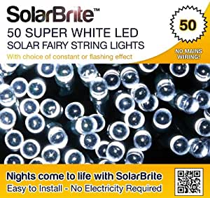 Solar Brite Deluxe 50 LED Super Bright White Decorative Solar Fairy String Lights, choice of light effect. Ideal for Trees, Gardens, Festive Parties & More...