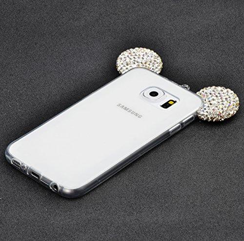 Coque Samsung Galaxy S6 Edge Plus TPU Case Cover Absorption de Choc Hull, Vandot Samsung Galaxy S6 Edge Plus Etui Silicone Souple Transparente Case Très Légère Housse Ajustement Parfait Coque pour Sam MK ears-Argent