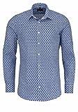 Marvelis Body Fit Hemd extra Langer Arm New Kent Kragen Muster blau Größe 39