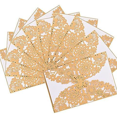 Lugii Cube 10pcs Découpe Laser Papillon Floral creux Lot de cartes d'invitation de mariage pour mariage fiançailles Mariage Douche, Violet
