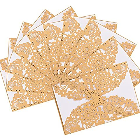 LanLan 10 pcs Laser Cut Butterfly Floral Hollow Wedding Invitations Cards Set for Wedding Engagement Bridal Shower,