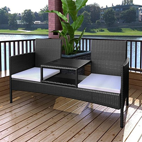 Landhausbank 2-Sitzer mit Tisch Te 'aus Polyrattan schwarz (Bank-kissen 41)