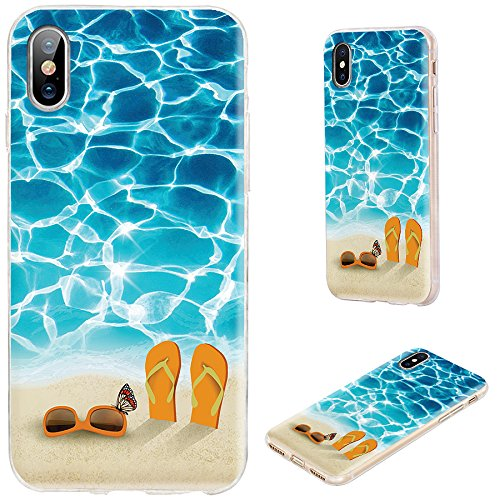 iPhone X Schutzhülle, Designer iPhone 10Fall, vomotec stoßfest Slim Flexible Soft TPU 360Full Schutzhülle mit Design für Apple iPhone X, Colorful Make-up Kit, Vacation Blue Sea Sunglasses