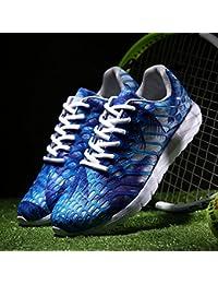 WJP Pareja de modelos de zapatos deportivos de malla masculina y femenina de malla de la personalidad masculina zapatos de correr bordado de tendencia de la juventud masculina,Azul,35