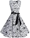 bridesmay 1950er Vintage Rockabilly V-Ausschnitt Kleid Retro Cocktailkleid Schwingen Kleid Faltenrock Leaves Skulls L
