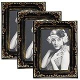 WOLTU BR9750-3 3er Set Bilderrahmen Fotorahmen in 13x18cm Barock Foto Galerie Bilder Collage Plastik Schwarz/Gold