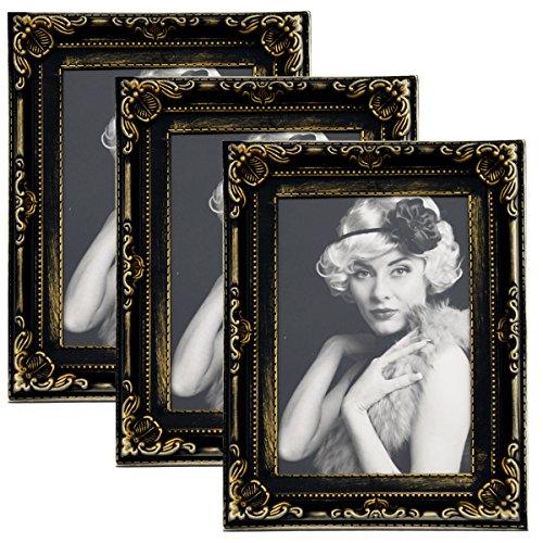 3er Packung Woltu Bilderrahmen 10x15cm Bild Rahmen Foto Galerie Bilder Collage Plastik Barock Schwarz/Gold,BR9747-3 (Gold-bilderrahmen 10 X 13)