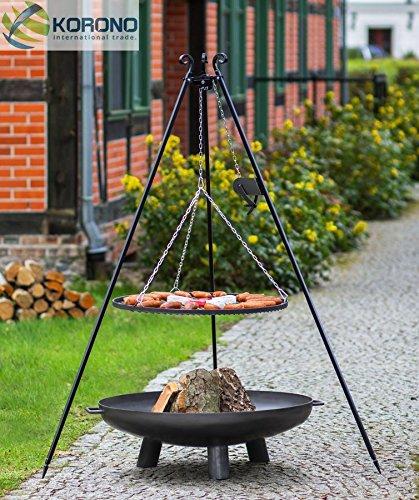 Set - Schwenkgrill 1,80m mit Kurbel incl. Ø70cm Grillrost und Ø80cm Feuerschale 347