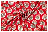 #4: Red Floral Hand Block Printed Running Natural Fabric Dress Making Voile Soft Fabric Sanganeri Print Home Decor Craft Fabric By Handicraft-Palace (2.5 Meter)