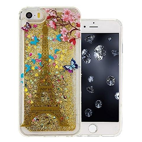 Bling Coque Or Paillette pour iPhone 5C, Aeeque® Motif Paris