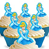 12 x Vorgeschnittene und Essbare Disney Princess Cinderella Kuchen Topper (Tortenaufleger, Bedruckte Oblaten, Oblatenaufleger)