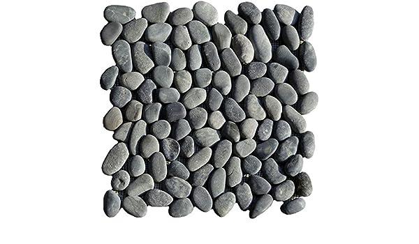 1/filet Galets Noir Blanc Rond rivi/ère