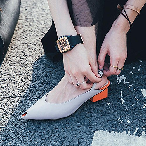 GJDE Sommer Sandalen und Pantoffeln beiläufige Schuhe Spitz Weibliche Dick mit Grey