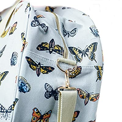 Womens Canvas Handbag Overnight Maternity Girls School Bag Ladies Tote Hand Luggage Holdall Horse Butterfly Design - HB-Hop-01