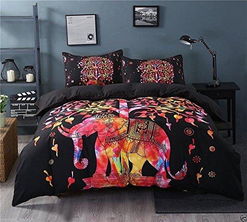 Multi Color Baum des Lebens Elefant Mandala Tröster Cover Doppel Bettwäsche werfen indischen psychedelischen Bettbezug & Kissen Fall böhmischen Wurf Bettbezug Größe 80 von 50 Zoll