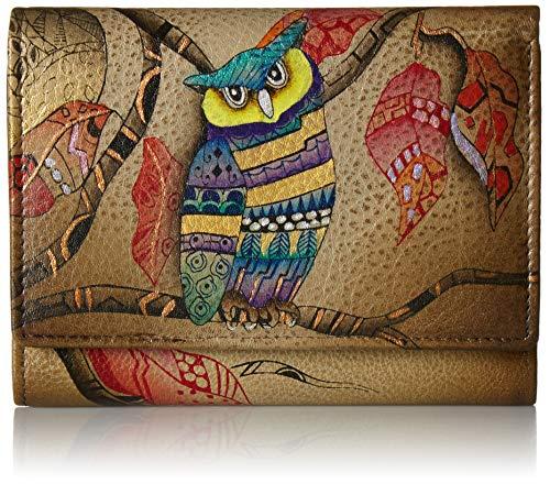 Anuschka Hand Painted Leather Women's Blocking SMALL Flap French Wallet Damen handbemaltem Leder, RFID-Schutz, Klappverschluss, französische Brieftasche, Magical Night, Einheitsgröße