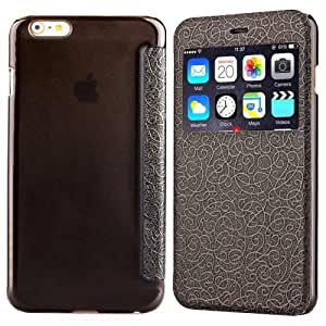 Generic Flower Of Palace Pattern Flip Leather Case With Card Slot & Caller Id Display For Iphone 6 Plus(Black)
