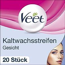 Veet Gesicht Präzisionskaltwachsstreifen Easy-Gelwax Technology für sensible Haut, 1er Pack (1 x 20 Stück)