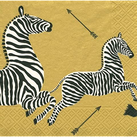 Lunch Luncheon Dessert Paper Napkins Wedding Birthday Jungle Baby Shower Safari Zebra Gold Pk 40 by Caspari