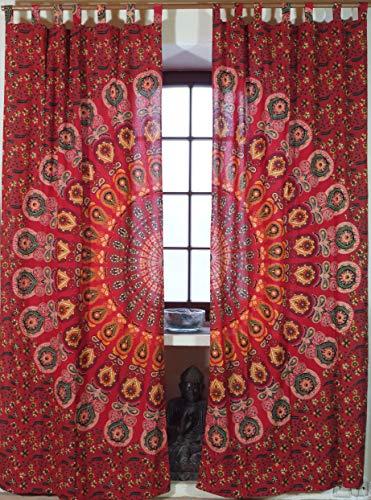 Guru-Shop Vorhang, Gardine (1 Paar Vorhänge, Gardinen) mit Schlaufen, Mandala Motiv - Rot/orange, Baumwolle, 230x100x0,2 cm, Dekovorhänge