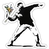 Banksy Rage Flower Thrower Design | Wall Art Graffiti Vinyl Sticker | Urban Art Venster, auto, laptop sticker (Large - 20x18c