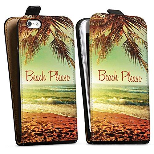 Apple iPhone 7 Hülle Tough Case Schutzhülle Beach Please Urlaub Strand Palmen Downflip Tasche schwarz