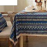 Tovaglia per la casa tovaglia vintage tovaglia deluxe.tessuto cotone lino bordo zebrato tabella di tè panno di tabella oblunga-A 65x65cm(26x26inch)