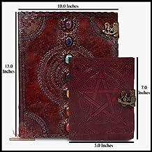 Cuaderno de cuero con siete chakras de piedra medieval con pentagrama Wicca Pagan Pentacle en relieve, libro hecho a mano, cuaderno de presentaciones, cuaderno de oficina, diario universitario, libro de poesía, libro de dibujo, para hombres y mujeres