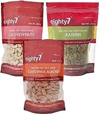 Eighty7 California Almonds, Cashews and Raisins Combo, 750g