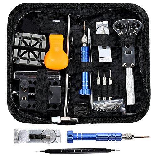 Outils de Montre Réparation D'horlogerie - 112pcs Kit Réparation Montre Outils Professionnel Pour Montre Ensemble Lien Ouvrir Ajuster Table Arrière