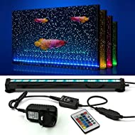 NEWNEN Fish Tank Light Waterproof Aquarium Lights Remote Control 5050 LED Color Changing,Air Bubble lights with 24key controller for Fresh and Saltwater Aquarium 30cm/11.8inch