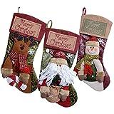 3 Pcs Calze di Natale con Babbo Natale Pupazzo di Neve e Renne, Decorazioni Natalizie,Sacchetti di Caramelle (Stile 2)