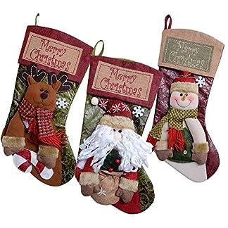3 x Calcetin de Decoraciones de Navidad Santa Claus, Muñeco de Nieve, Medias de Decoración de Navidad, Bolasa de Caramelo y Regalo