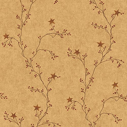 York Wallcoverings RF3526 Country Book Star Berry Vine Wallpaper, Terra Cotta by York Wallcoverings - Star Berry Vine
