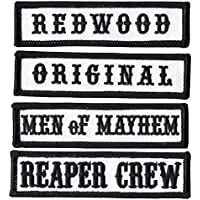Titan One Europe Black Reaper Crew Outlaw Anarchy Biker Vest Jacket Officer Title Patch Set Parche Motero Bordado Termoadhesivo