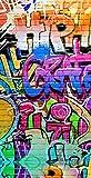 Aminata Kids – Strandtuch Kinder Jungen Mädchen groß á 75x150 cm Graffiti Comic *inkl. Gratis E-Book* Handtuch Duschtuch Badetuch mit Motiv für Strand Schwimmbad Graffity Strandhandtuch Reisehandtuch