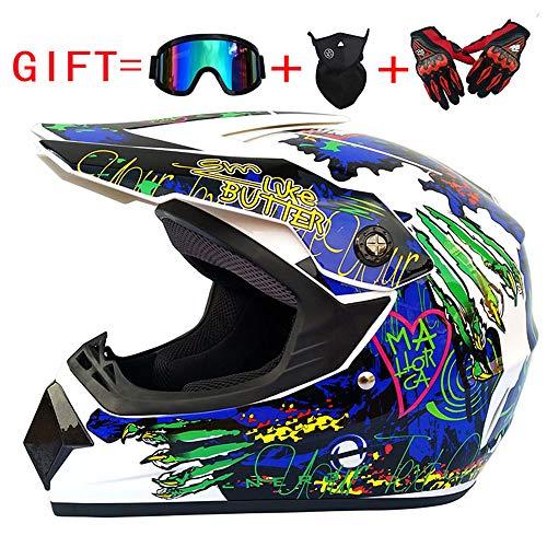 LTongx Adult Motocross Motorradhelm und Adult MX Motocross (Handschuhe, Brille, Maske, 4-teiliges...