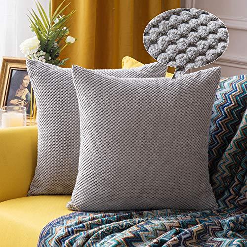 Miulee confezione da 2 federe granulari piccole per cuscini fodere copricuscini decorativi morbidi quadrati per divano letto auto in misto poliestere 40x40 cm grigio chiaro
