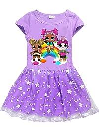 Vannie LOL Surprise Niña Vestido de Princesa Cosplay Skirt para Fiesta de Halloween Mangas Cortas Vestido