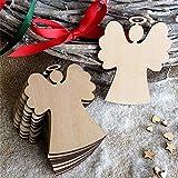 FeiliandaJJ 10PCS Weihnachten Anhänger DIY Holz Engel Elch Schneemann Weihnachtsbaum Vier Stile Christbaumschmuck Wohnkultur (A(Engel))