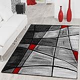 T&T Design Teppiche Wohnzimmer Teppich Porto Konturenschnitt in Grau Rot Schwarz Ausverkauf, Größe:80x150 cm